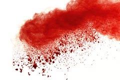Rote Pulverexplosion auf weißem Hintergrund Malen Sie Holi lizenzfreies stockbild