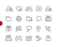 Rote Punkt-Reihe Sozialkommunikations-Ikonen// Lizenzfreie Stockbilder