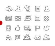 Rote Punkt-Reihe Sozialnetz-Ikonen// Stockfotos