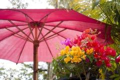 Rote, purpurrote und gelbe Blumen Lizenzfreie Stockbilder