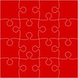 16 rote Puzzlespiel-Stücke - Laubsäge - Vektor Stockfotos