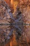 Rote Querneigung-Schlucht reflektiert stockbilder
