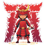 Rote Rüstungs-Samurais Stockfotografie