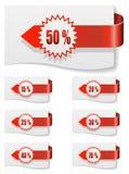 Rote Rabattkennsätze Stockfotos