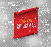 Rote realistische ausführliche gebogene Papierfahne der frohen Weihnachten lokalisiert auf weißem Hintergrund Auch im corel abgeh Stockbild