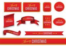 Rote realistische ausführliche gebogene Papierfahne der frohen Weihnachten lokalisiert auf weißem Hintergrund Auch im corel abgeh Lizenzfreies Stockbild