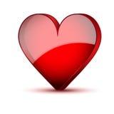 Rote realistische Herz Valentinsgrußtageskarte Stockbild