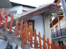 Rote Rebe auf hölzernem Zaun und konkreter Treppe stockfotografie