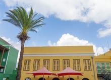 Rote Regenschirme auf gelbem Gips mit Palme Stockfotos