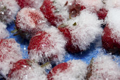 Rote reife Erdbeere im Eis Stockfotos