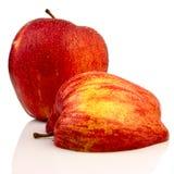 Rote reife nasse Äpfel Stockbilder