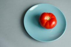 Rote, reife Tomate auf einer blauen Platte Lizenzfreie Stockfotos