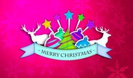 Rote rosa frohe Weihnachten Art Paper Card Lizenzfreies Stockbild