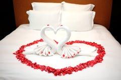 Rote rosafarbene Blumenblätter auf Bett Stockbilder