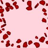 Rote rosafarbene Blumenblätter Kartenhintergrund des Valentinsgrußes s Stockbilder