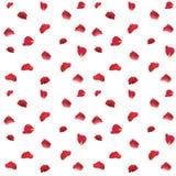 Rote rosafarbene Blumenblätter kopieren Gewebe auf weißem Hintergrund Lizenzfreie Stockfotos