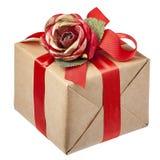 Rote Rose Bow Gift Box Isolated Stockbild