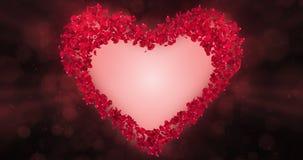 Rote Rose Flower Petals In Heart-Form Alpha Matte Loop Placeholder 4k stock video