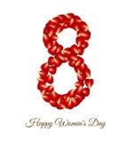 Rote Rose Petals für internationale Frauentageskarte Stockbilder