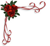 Rote Rose-Rand-Hochzeitseinladung Stockfotos