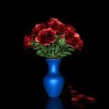 Rote Rose und blauer Topf Lizenzfreie Stockfotos