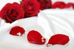 Rote Roseblumenblätter und pearles Lizenzfreie Stockbilder
