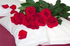 Rote Rosen auf dem Kissen Lizenzfreies Stockbild