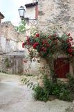 Rote Rosen auf einer alten Wand lizenzfreie stockfotos