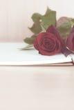 Rote Rosen auf Notizbuch bereiten sich zum Geschenk am Valentinstag vor Stockbilder