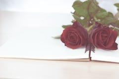 Rote Rosen auf Notizbuch bereiten sich zum Geschenk am Valentinstag vor Stockbild