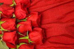 Rote Rosen auf Seide Stockfotos