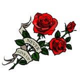 Rote Rosen der Vektortätowierung Lizenzfreie Stockfotografie