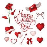Rote Rosen, Herzen und andere Elemente übergeben gezogenen Farbsatz lizenzfreie abbildung