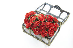 Rote Rosen im Kasten lokalisiert Lizenzfreies Stockbild