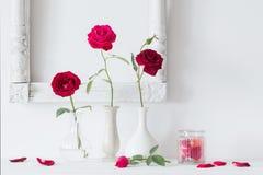 Rote Rosen im Vase auf Hintergrundweißwand Lizenzfreie Stockfotos