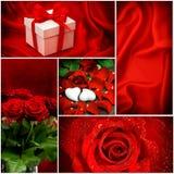 Rote Rosen innere Roter heart-shaped Schmucksachegeschenkkasten und eine rote Spule auf einem Zeichen Illustration mit rotem Boge Stockfoto