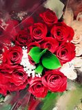 Rote Rosen-Malen Lizenzfreie Stockfotografie