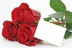 Rote Rosen mit einer unbelegten Anmerkung Stockfotos