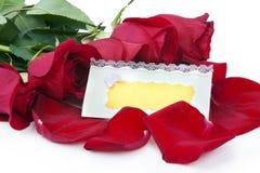 Rote Rosen mit einer unbelegten Geschenkkarte Stockfoto