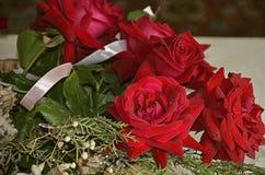 Rote Rosen mit Eukalyptuszweigen, Muscheln, Satinband Lizenzfreie Stockbilder