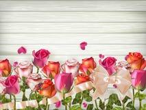 Rote Rosen mit Herzen ENV 10 Lizenzfreie Stockfotos