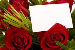 Rote Rosen und Marke Stockfotografie