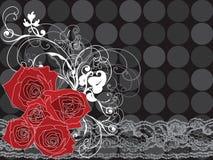 Rote Rosen und Spitze des Valentinsgrußes Lizenzfreies Stockfoto