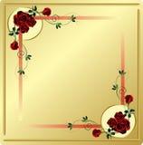 Rote Rosen und Strudel-Ecken mit Goldhintergrund Stockfotografie
