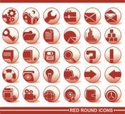 Rote runde Ikonen stock abbildung