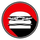 Rote Runde mit schwarzem Schatten - weiße Hamburgerikone Stockbild