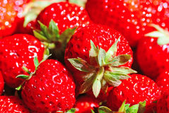 Rote saftige Erdbeeren Stockfotos
