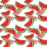 Rote saftige Scheibe des nahtlosen Musters der geschmackvollen Wassermelone mit Samen auf weißem Hintergrund lizenzfreie stockbilder