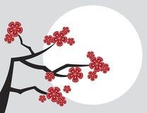Rote sakuras mit weißem Mond Lizenzfreie Stockfotos
