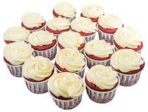 Rote Samt-kleine Kuchen II Stockfotografie